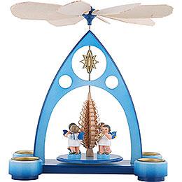 1-stöckige Pyramide blau mit bunten Engeln und Blasinstrumenten - 39x30,6x19 cm