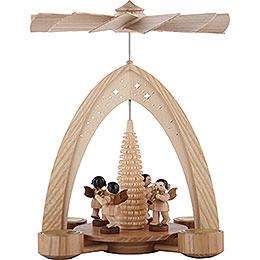 1-stöckige Pyramide mit Engeln natur mit Blasinstrumenten - 26x21x16 cm