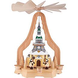 1-stöckige Pyramide mit Seiffener Kirche - 40 cm