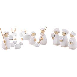 11-teiliges Krippenset weiß/natur - klein - 7 cm