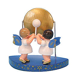 2 Angels with Big Gong Fitting Simple Clouds - Blue Wings - Standing - 6 cm / 2,3 inch
