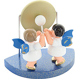 2 Engel am großen Gong passend zu Wolkenstecksystem - Blaue Flügel - stehend - 6 cm