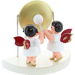 2 Engel am großen Gong passend zu Wolkenstecksystem - Rote Flügel - stehend - 6 cm