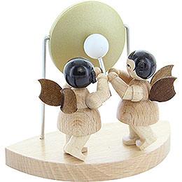 2 Engel am großen Gong passend zu Wolkenstecksystem - natur - stehend - 6 cm