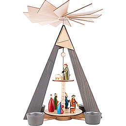 2-Tier Pyramid - Nativity - Grey - 36 cm / 14.2 inch