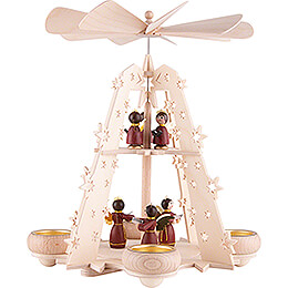 2-Tier Pyramid - Starry Sky - Angels red - 28 cm / 11 inch