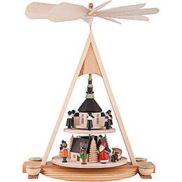 2-Tier Pyramid with Seiffener Christmas Scene - 43 cm / 16.9 inch