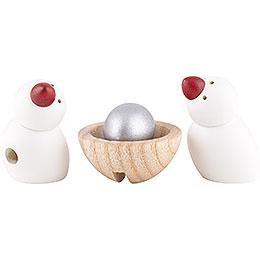 2 Vögel und Nest mit Ei - 3 cm
