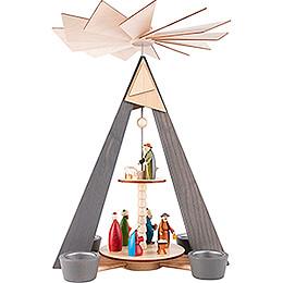 2-stöckige Pyramide Christi Geburt grau - 36 cm
