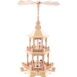 2-stöckige Pyramide Christi Geburt, natur mit hellem Dach - 52 cm