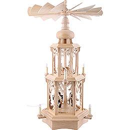 2-stöckige Pyramide Walddesign - elektrisch mit Figuren - 77 cm