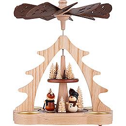 2-stöckige Pyramide Weihnachtsmann und Schneemann - 22 cm