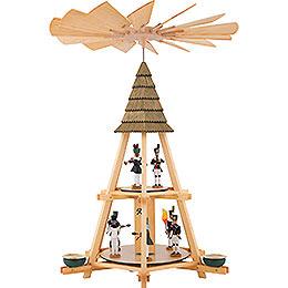 2-stöckige Göpelpyramide mit Bergleuten - 52 cm