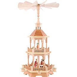 2-stöckige Pyramide Christi Geburt, natur mit dunklem Dach - 52 cm