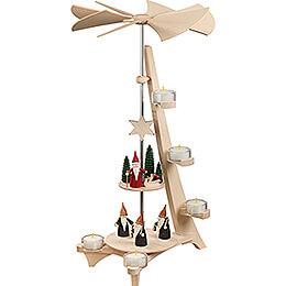 2-stöckige Pyramide L-Form Bergwichtel und Weihnachtswichtel - 50 cm