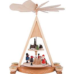 2-stöckige Pyramide mit Weihnachtsmann und Seiffener Dorf bunt - 35 cm
