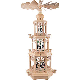 3-Tier Christmas Pyramid - Miners - Wax Candles with Figurines - 105 cm / 41 inch