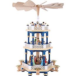3-Tier Pyramid - Nativity Scene Blue - 40 cm / 16 inch