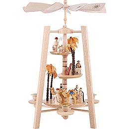 3-Tier Pyramid - Nativity Scene - Natural Wood - 40 cm / 16 inch