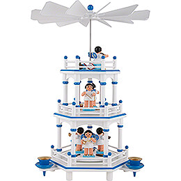 3-Tier Pyramid - White-Blue - Music Angels with Blue Wings  - 35 cm / 13.8 inch