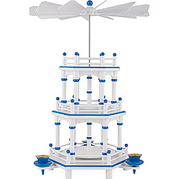 3-Tier Pyramid - White-Blue - without Figurines - 35 cm / 13.8 inch
