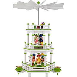 3-Tier Pyramid - White-Green - Flower Children - 35 cm / 13.8 inch