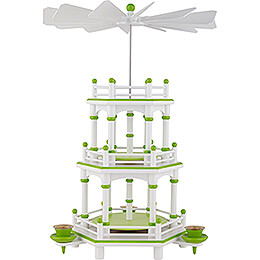 3-Tier Pyramid - White-Green - without Figurines - 35 cm / 13.8 inch