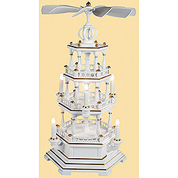 3-Tier Pyramid - without Figurines, White-Gold - 120 V Electr. Motor (US-Standard) - 58 cm / 22.8 inch