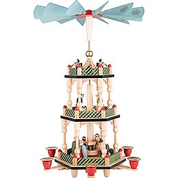 3-stöckige Pyramide Christi Geburt, bunt - 46 cm