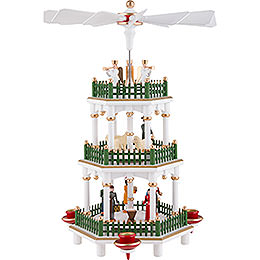 3-stöckige Pyramide Christi Geburt weiß - 35 cm