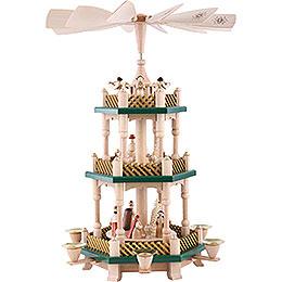 3-stöckige Pyramide Christi Geburt - weihnachtsgrün/natur - 40 cm
