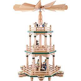 3-stöckige Pyramide Heiligabend naturfarben - 48 cm