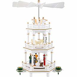 3-stöckige Pyramide Weihnachten, weiß - 35 cm