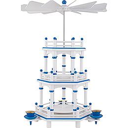 3-stöckige Pyramide weiß-blau unbestückt - 35 cm