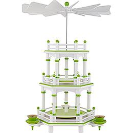 3-stöckige Pyramide weiß-grün unbestückt - 35 cm