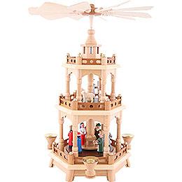 3-stöckige Pyramide Christi Geburt, bunt - 42 cm