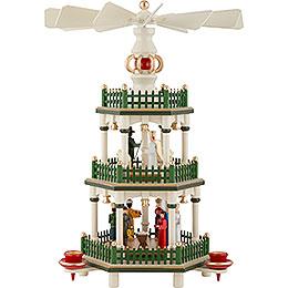 3-stöckige Pyramide Christi Geburt - historische Farben weiss/grün - 35 cm