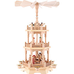 3-stöckige Pyramide Christi Geburt, natur - 49 cm