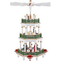 3-stöckige Pyramide Christi Geburt weiss - 35 cm