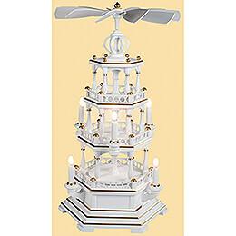 3-stöckige Pyramide unbestückt, weiß-gold - 120 V Elektromotor (US-Norm) - 58 cm