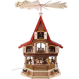 3-stöckiges Adventshaus - Christi Geburt - 77 cm