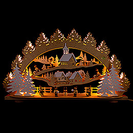 3D Candle Arch - Children in the Winter Village - 66x40 cm / 26x15.7 inch
