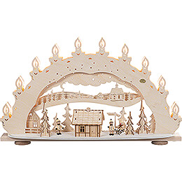 3D Candle Arch - Ski Lodge with Smoking Hut - 66x40 cm / 26x15.7 inch