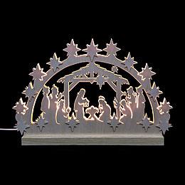 3D-Doppelschwibbogen Krippenstall - 42x30x4,5 cm