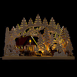 3D Double Arch - Mountain Cabin with Carver - 62x40 cm / 24x16 inch