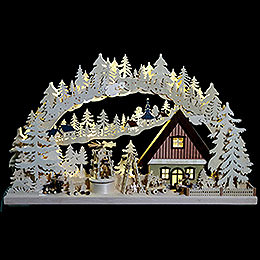 3D Double Arch - Workshop with Turning Christmas Pyramid - 72x43x8 cm / 28x17x3 inch