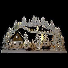 3D-Schwibbogen Altseiffener Handwerk mit geschnitzten Figuren - 72x43x8 cm