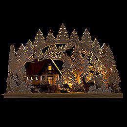 3D-Schwibbogen Berghütte mit Schnitzer - 62x40 cm