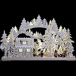 3D-Schwibbogen Blockhütte mit Waldarbeitern und Raureif - 62x38x8 cm