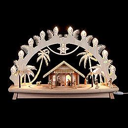3D-Schwibbogen Christi Geburt mit beweglichen Figuren - 68x43x16 cm